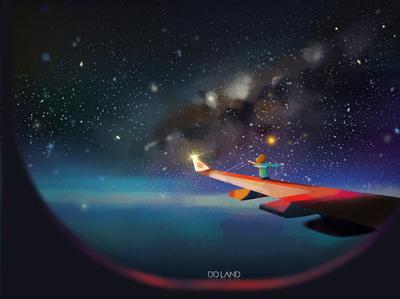 风之上 Above the wind design color dream 2d flat 星空 蓝色 装饰设计 插画 水母 illustration 艺术