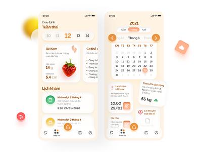 PregBe Demo Layout - Pregnancy-Helper Mobile Application uxdesign uidesign appliction graphic design