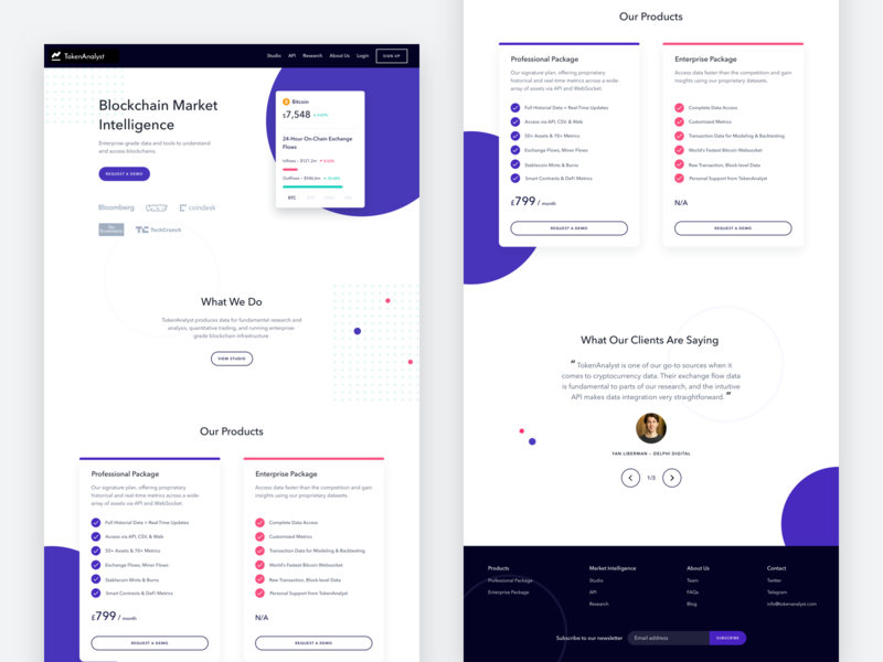 Token Analyst Homepage Redesign web ui price data ux testimonials cards price plans homepage sketch cryptocurrency crypto defi fintech blockchain ethereum