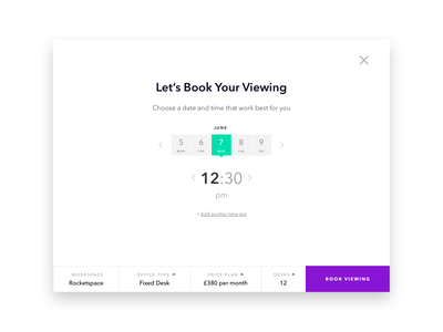 Office Viewing Scheduler prototype sketch web ui date picker time picker booking