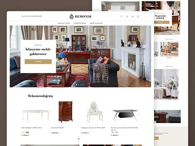 Homepage design for Bemondi boutique shopware clean design ecommerce magento ui ux figmadesign sketchapp modern web design elegant premium desktop furniture bedroom office