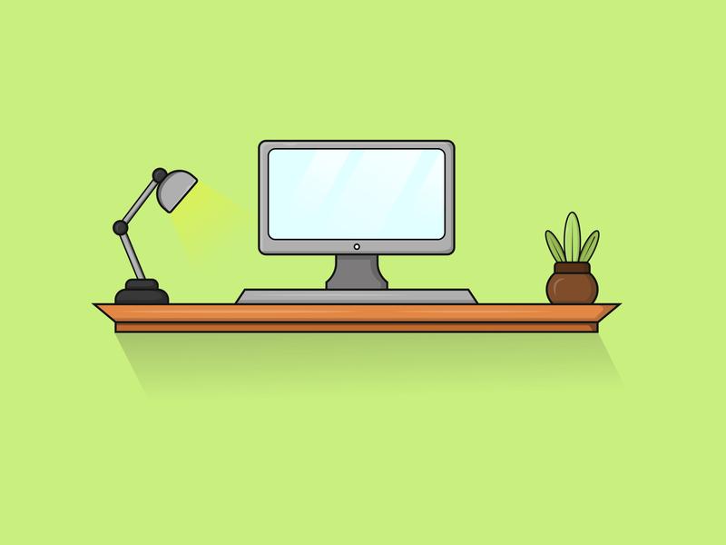 Workspace Vector Illustration illustrator table computer work workspace vector workspaces workspace ui illustration illustrations vectorart vector vectolillustration illustration flatvector flat design flatdesign design