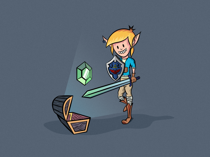 Link grabs the green rupee ! legend of zelda thicc lines hyrule shield master sword link illustration characters video games