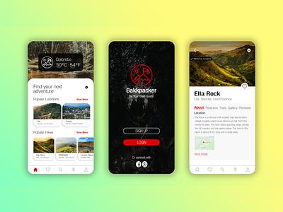 Bakkpacker - Hiking App Concept outdoor camping srilanka travel app travel hiking mobile app design mobile app mobile design mobile design
