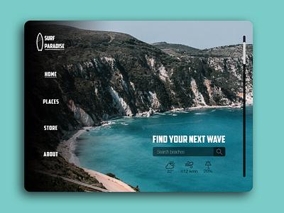 Surf Paradise - Website Concept ux design ux travel app traveling travel surfing surf website design web design website web branding design