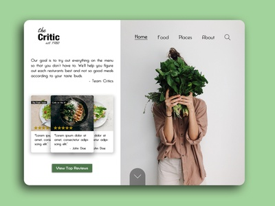 The Critic -  - Website Concept ux design ux restaurant critic food cooking chef landing page landing design landing website design webdesign website web ui design