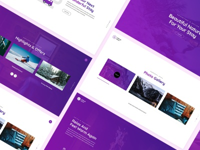 Chalet website template layout typogaphy minimal interface clean psd template psd design web design website purple modern ui design ux ui booking stay chalet
