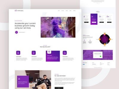 The Agency template design ui design purple modern wordpress layout clean typogaphy psd template creative ux design ui psd design agency website agence