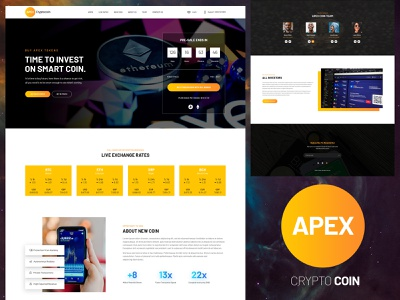 One Page Crypto layout typogaphy ui design psd template ux one page modern ui psd design clean creative cryptocurrency crypto