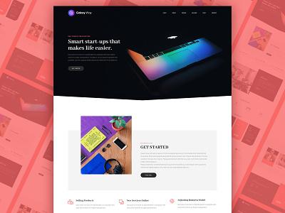 Startup startup red ux creative wordpress psd template layout ui design typogaphy psd design clean