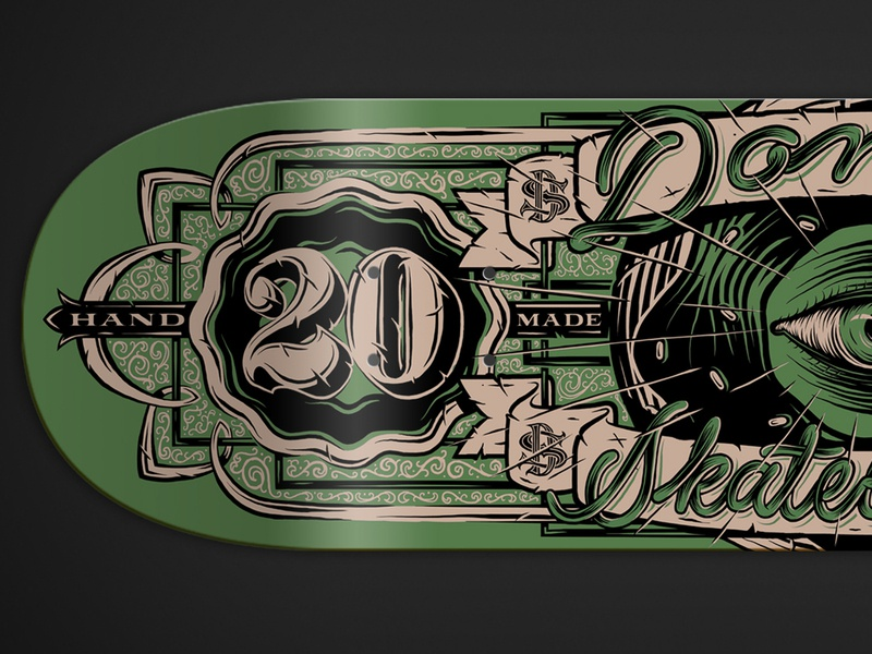 Donut skateboard 2020 banknote dollar bill 2020 deck skateboard branding design typo handmade typography illustration lettering