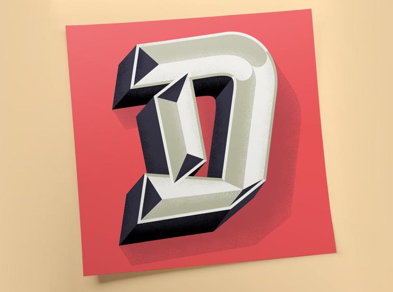 """D"" for Lettera40 blackletter type design vector typo typography illustration lettering"