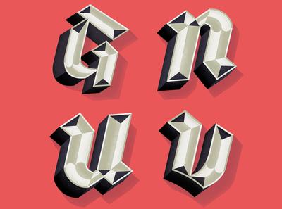 Letters for Lettera 40 blackletter type design vector typo typography illustration lettering