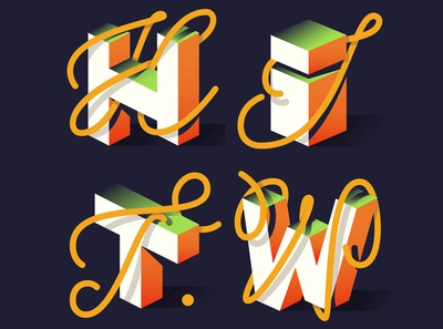 Letters for Lettera40 3d type design vector typo typography illustration lettering