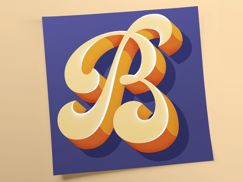 """""""B"""" for Lettera40 3d funky type design vector typo illustration typography lettering"""