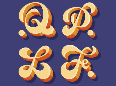 Letters for Lettera40 3d funky type design vector typo typography illustration lettering