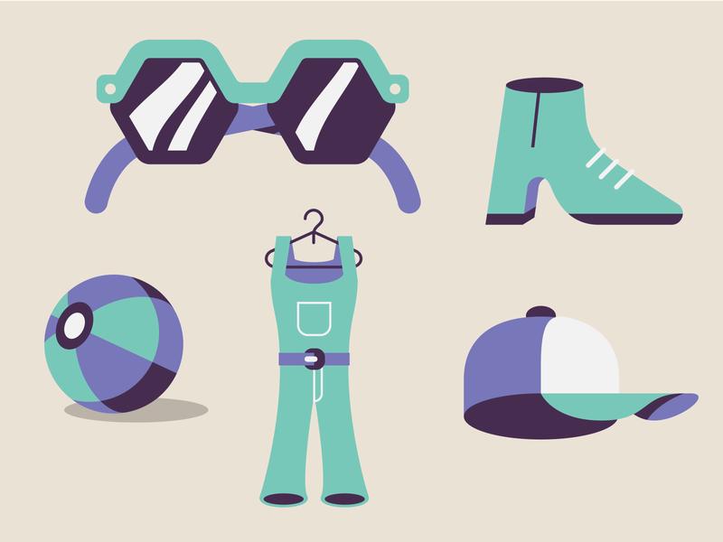 Object's icons dress balloon sunglasses shoe cap icon set icon design vector illustration