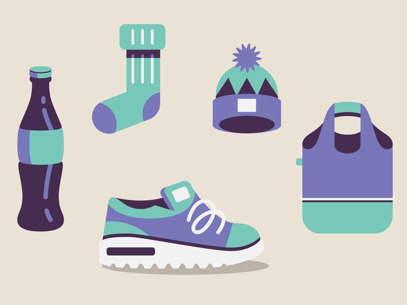 Object's icons sock hat bag sneaker shoe bottle coke icon design icon set icon design vector illustration