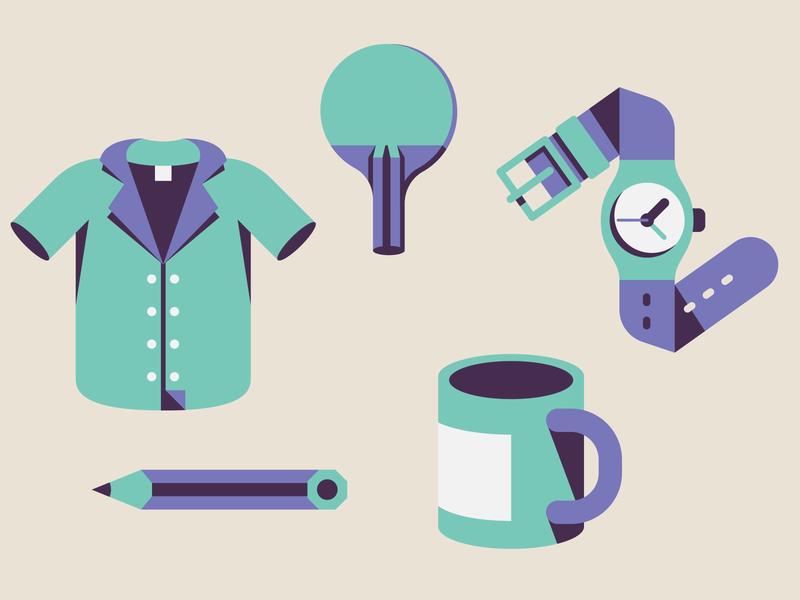 Object's icons mug paddle bowling shirt pencil pingpong swatch icon design icon set icon design vector illustration