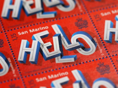 """""""Hello"""" Stamps stamp design stamps type design vector typo typography illustration lettering"""