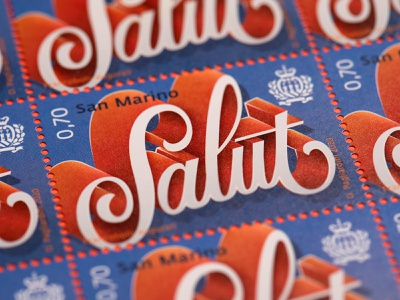 """Salut"" Stamps stamp design stamps type design vector typo typography illustration lettering"