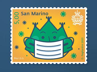 Pro I.S.S stamp stamp design stamps mountain san marino covid covid19 design vector illustration