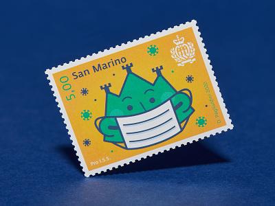 PRO ISS - Postage stamp san marino covid covid19 stamp design stamp design vector illustration