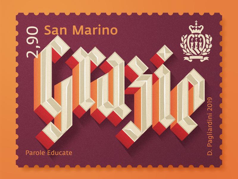 Grazie thanks stamp design type vector typo typography lettering illustration