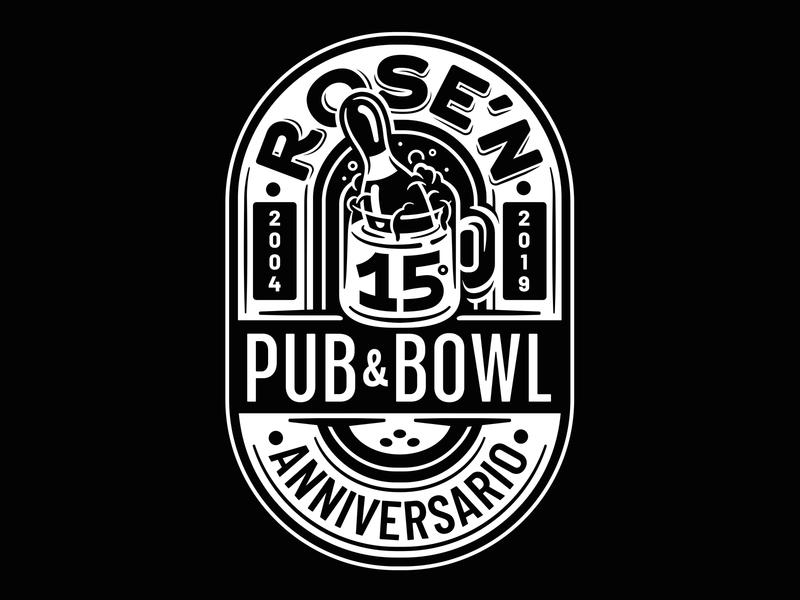 Rose'n PUB & BOWL pub bowling type design vector typo typography illustration lettering