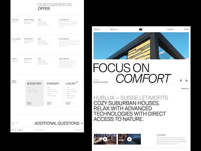 Hublux Сountry Houses — Landing Page лендинг дизайнер apartment landing ux web branding logo illustration figma design animation minimal ui