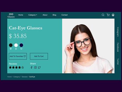 Glasses shopping website design concept branding uidesign figmadesign figma uidesigner website design webdesign ux ui