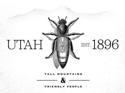 Utah utah bee state greyscale