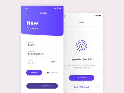 Login with Touch id form sign in app login illustration design animation ui uiux ux