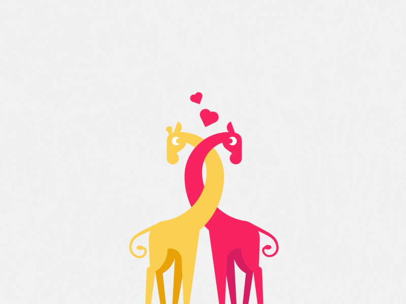 a Couple of Lovely Giraffes illustraion logo hug cute lovlely giraffe giraffes