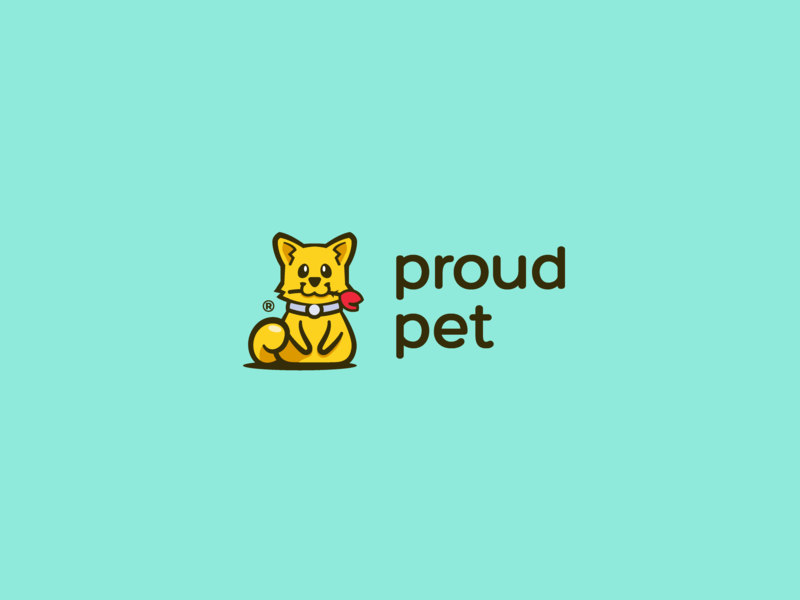 Proud Pet cute logo happy proud flower dog cat pet