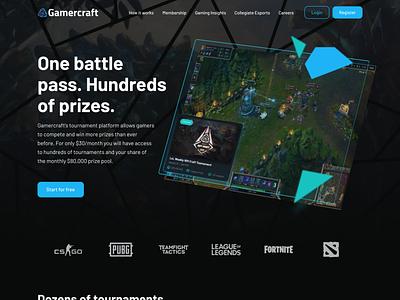 Gamercraft Homepage homepage website interface games pubg csgo fortnite dota landingpage ui game tournament leagueoflegends gaming esports