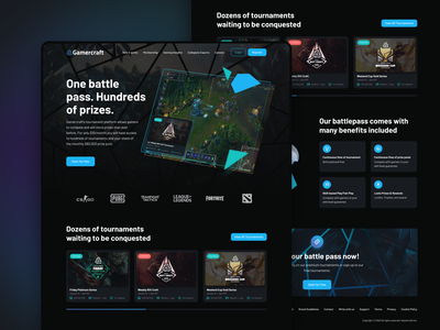 Gamercraft Homepage homepage website interface games pubg csgo fortnite dota landingpage ui game tournament leagueoflegends gaming esports