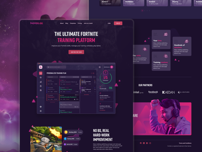 Novos Landing page dark homepage games training fortnite ui landing page gaming game esports website webdesign