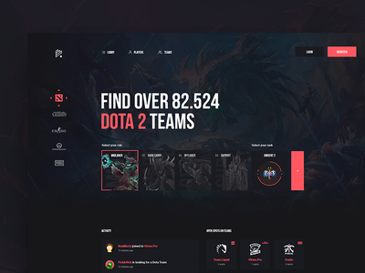 Team Finder Concept homepage webdesign gaming esports csgo league of legends dota