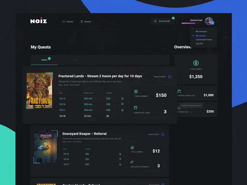 Noiz Quest Reports webdesign ui quests stream gaming game report dark admin