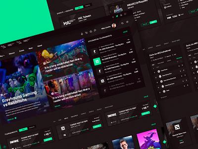 Esports Website homepage dota esports gaming game website dark interface webdesign ui