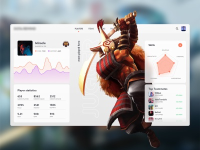 Dota Player Statistics Concept clean gaming game esports admin dashboard ui webdesign moba statistics esport player dota