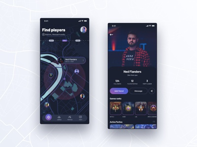 game app  #1 team apex legends league of legends csgo dota2 location gaming game profile player map app design esports dark interface app