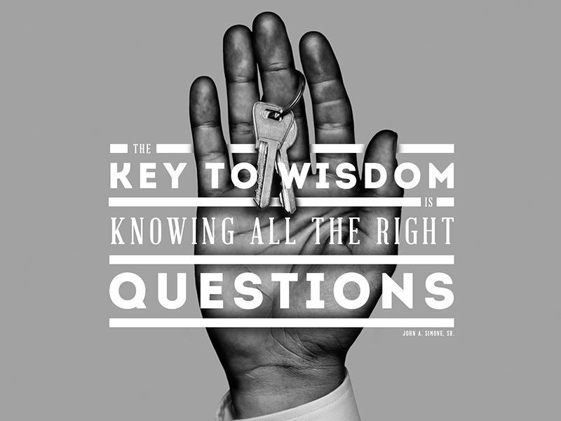Questions typography photo black and white wisdom key