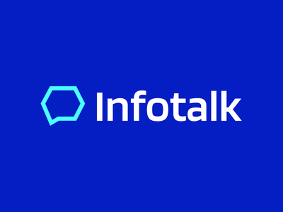 Infotalk blue typography abstract clean flat minimalistic design simple modern proffesional minimalist logo minimal brand identity branding