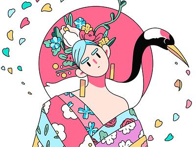 Geisha inspiration creative art japanese culture japanese art japan flat branding illustration