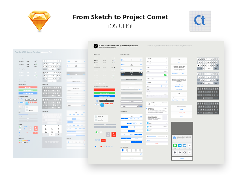 iOS UI Kit for Adobe Project Comet (Experience Design) experience design download freebie ui kit ui project comet comet adobe