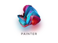3d Abstract brush element for website