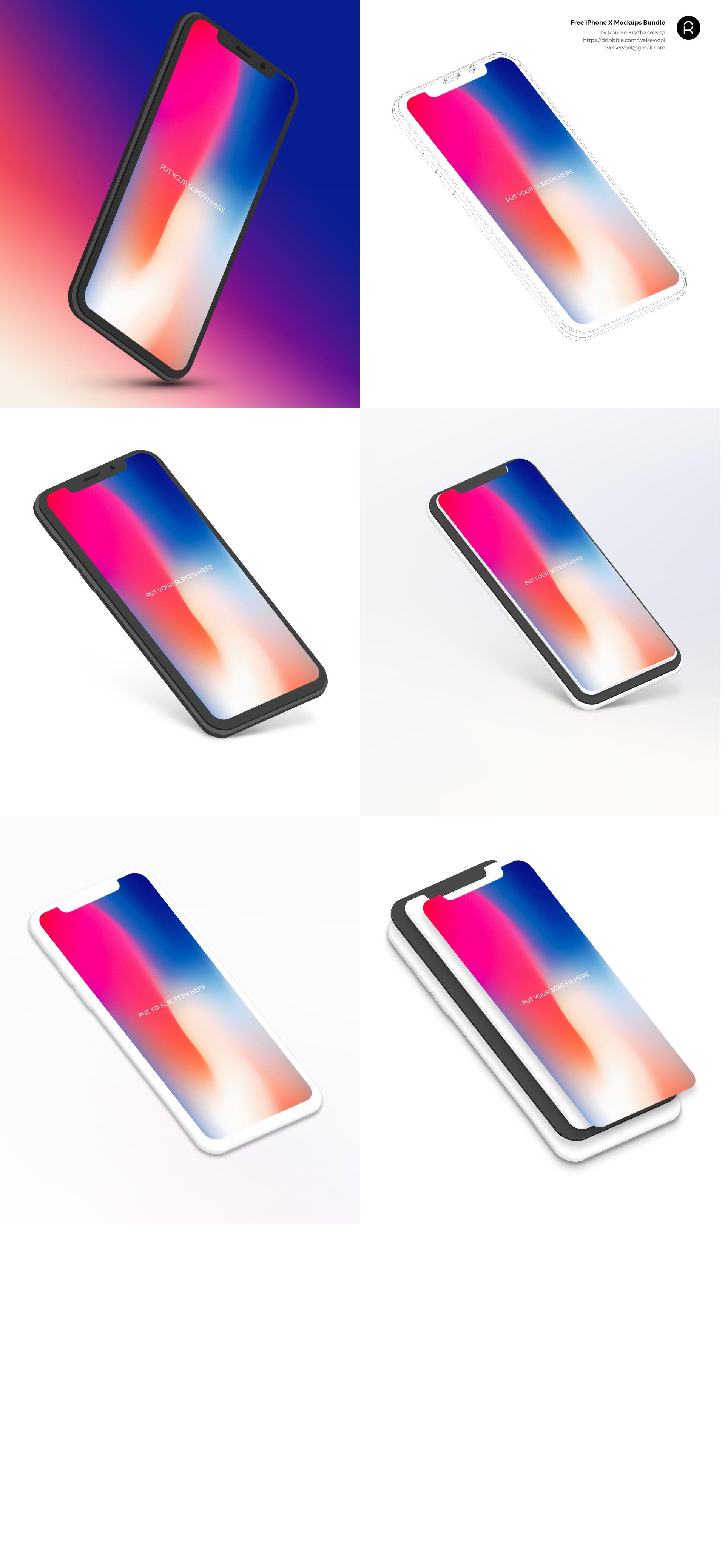 Iphone x mockups bundle by roman kryzhanovskyi