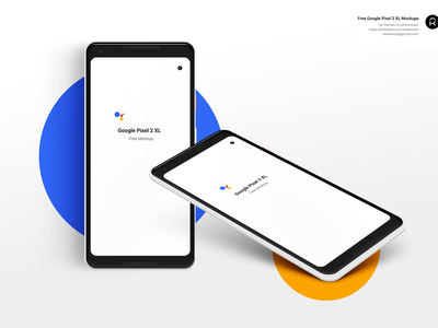 Google Pixel 2 XL Free PSD mockup. Front and Isometric views. android smarthone download psd mockup bundle free freebie pixel xl pixel 2 google pixel google
